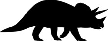 The Silhouette Of A Large Dinosaur With Horns On Its Head. Collection Of Jurassic Animals. Black And White Illustration Of Dinosaurs For Children.