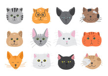 Cute Cats Heads Showing Various Emotions. Adorable Doodle Kitties With Different Face Expression. Hand Drawn Vector Illustration Of Childish Pet Characters