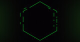 Image of green neon hexagon flashing on dark background