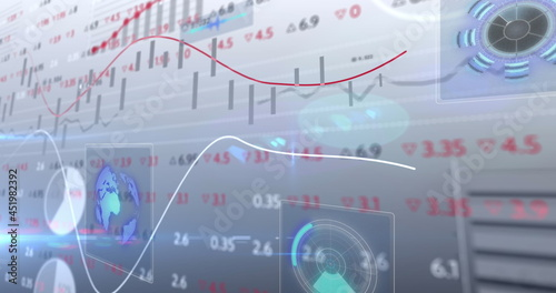 Stock market data processing against multiple round scanners on grey background