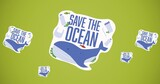 Composition of save the ocean text with whale and plastic logo over green background