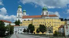 Passau, Germany - May 9. 2014: Street View On Jesuit St. Miachaels Church Against Blue Summer Sky
