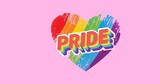 Pride text over rainbow heart on pink background