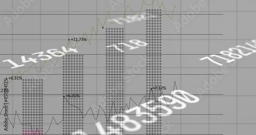 Digital image of multiple changing numbers floating against financial data processing on grey ba