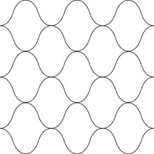 Roman Ogee Abstract Vector Seamless Pattern Background With Retro Shapes Net Texture. Neutral Black White Geometric Backdrop. Monochrome Chicken Wire Style Repeat Print For Wellness Packaging