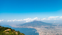 Volcano Vesuvius And Naples Seen From Monte Faito, Aerial View. Italy
