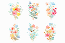 Colorful Floral Bouquet Collection With Watercolor
