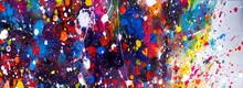 Hand Drawn Colorful Painting Abstract Art Panorama Background Colors Texture.