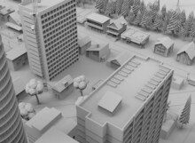 Black And White City 3d-rendering