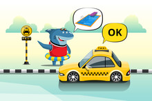 Swimmer Sharks Tell Taxis Their Pool Destination At A Downtown Taxi Stand