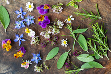 Edible Flowers And Herbs Freshly Picked From The Garden