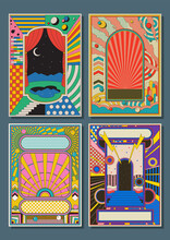Psychedelic Abstract Backgrounds, Templates For Posters, Covers, Illustrations, 1980s - 1990s Colors, Geometric Shapes