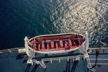 Aerial Of Lifeboat On Deck Of Ship And Blue Ocean