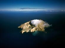 Aerial Of White Island Active Volcano Smoking