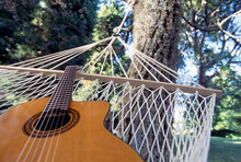 Guitar Resting In White Rope Hammock Tied To Tree