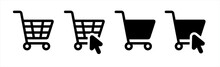 Shopping Cart Icon. Web Store Shopping Cart Icon. Internet Shop Buy Logo Symbol Sign. Vector Illustration.
