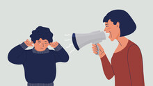 Woman Shouts At The Child Into A Megaphone. The Boy Covers His Ears With His Hands, Cries. Domestic Violence Concept. Mom Yells At Her Crying Son. Mother Scolds The Child. Vector Flat Illustration