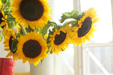 Bouquet With Large Sunflowers In A Vase