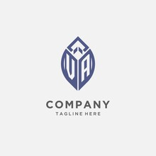 VA Logo With Leaf Shape, Clean And Modern Monogram Initial Logo Design