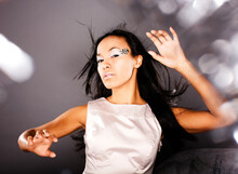 Fashion Portrait Beauty Ice Lady Splashes Of Light In Studio, Creative Make Up Christmass