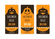 A Set Of Halloween Tickets Or Flyers For A Holiday Party With A Pumpkin, Scary Trees, Moon And Monster Bats On An Orange Gradient Background.