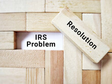 Business Concept - IRS Problem Resolution Text Background. Stock Photo.