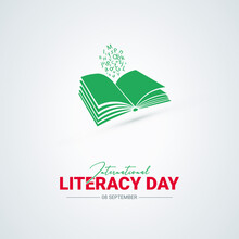 International Literacy Day, Books And Typography Vector Design, 8 September
