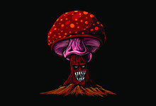 Monster Mushroom Growth Up On Cracked Land Illustration In Highly Detail For Clothing, Poster, Sticker, Wall Art, Board. Vector Graphic Eps 10.