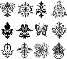 Vector Set Of Patterned Emblems. Various Prints For Tattoo And Laser Cutting. Lace, Flower And Butterfly