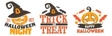 Trick Or Treat, Halloween Banners With Pumpkins