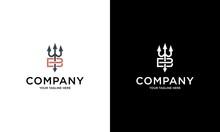 Simple Luxury Illustration Logo Design Initial B Trident.
