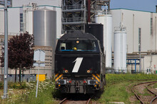 Vossloh Locomotive From Rail Force One Leaving Shunting Yard In The Port Of Rotterdam