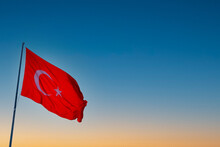 Turkish Flag Waving In The Sky.