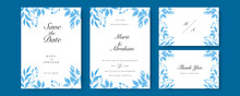 Set Of Wedding Invitation Card With Blue Watercolor Flower And Leaves