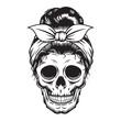 Skull Mom Head design on white background. Halloween. skull head logos or icons. vector illustration.
