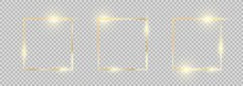 Golden Frame. Square Gold Border Set. Gold Frames Collection With Glowing Effects.