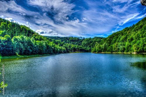 Fototapeta Lake Bystrzyckie - a dam lake located in the valley of the Bystrzyca gorge in th
