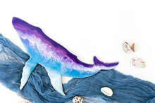 Resin Art Whale And Ocean Shells On White Background. Flat Lay