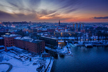 Aerial View Of Bydgoszcz And Brda At Dusk In Winter