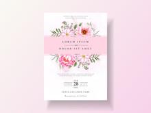 Romantic Wedding Invitation Cards Floral Watercolor