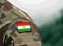 Flag Of Kurdistan On Soldier Arm. Military Forces Of The Autonomous Kurdistan(Peshmerga)
