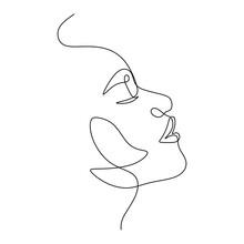 Woman Face Portrait Line Art Vector. Minimalist Female Drawing
