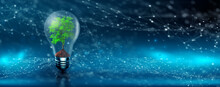 Environmental Technology. Tree Growing On Lightbulb With Digital Convergence. Blue Network Technology Background. Green Computing, Green Technology, Green IT, Csr, And IT Ethics Concept.