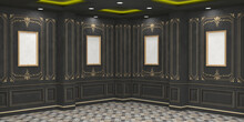 3d Illustration Foyer Ballroom With Pillar Wall Antique Decoration Carpet Flooring And Downlight Blank Empty Frame For Gallery Photo.