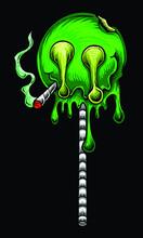 Marijuana Green Lollipop Smoking Joint