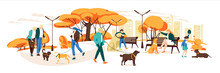 People Walking With Dogs In Autumn Urban Park. Vector Landscape In Cartoon Style. Urban Park With Dog And People Walk Illustration