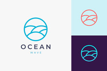 Beach Or Pool Logo Template In Circle Sea Wave Shape