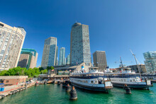 Beautiful Toronto City Skyline From Harbourfront, Ontario, Canada