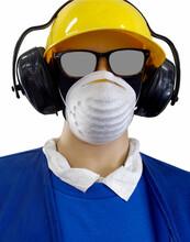 Masked Mannequin Wearing Sunglasses, Yellow Hard Hat, Headphones, Blue Sweater And White Shirt. Humor. Fun