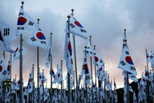 Korean National Flags Fluttering In The Wind.